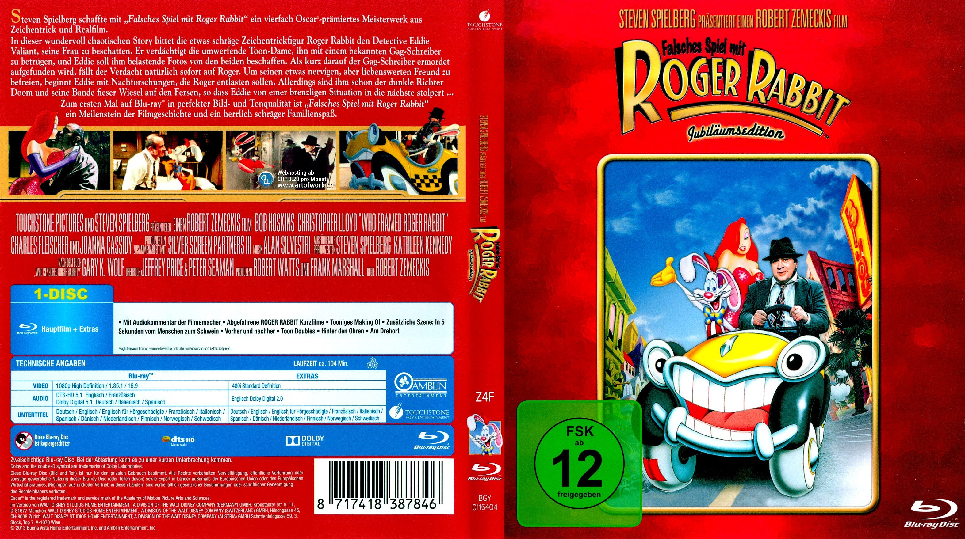 Falsches Spiel mit Roger Rabbit german blu ray cover | German DVD Covers