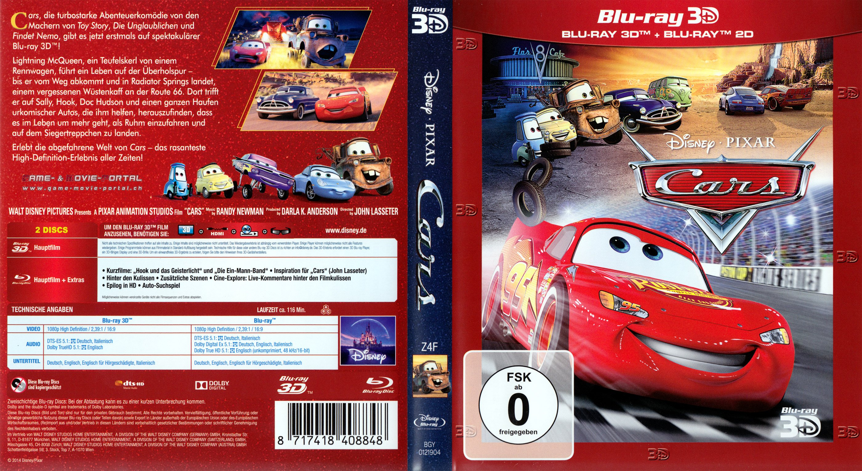 cars 3d blu ray deutsch blu ray cover german german dvd covers. Black Bedroom Furniture Sets. Home Design Ideas