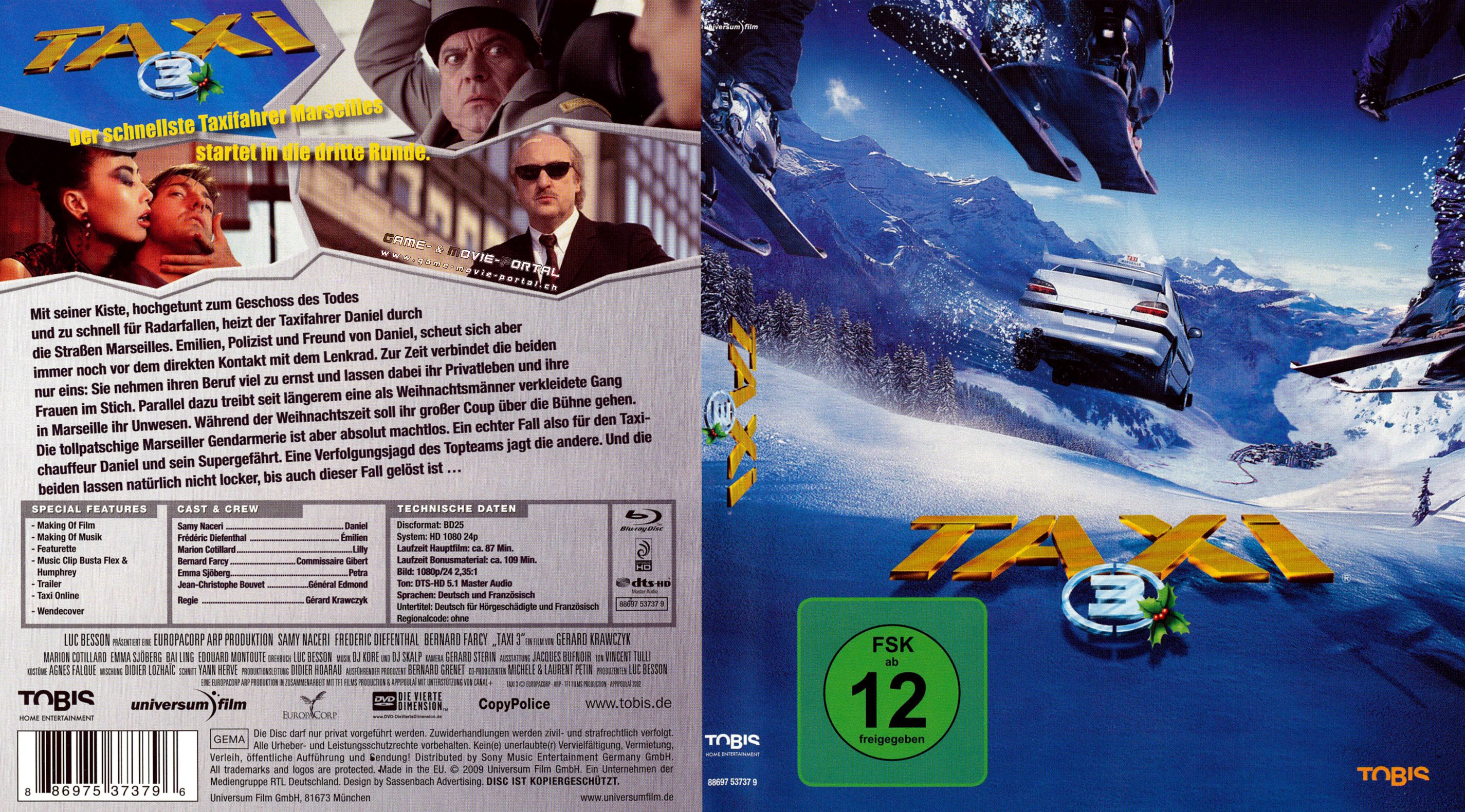 taxi 3 blu ray cover german german dvd covers. Black Bedroom Furniture Sets. Home Design Ideas