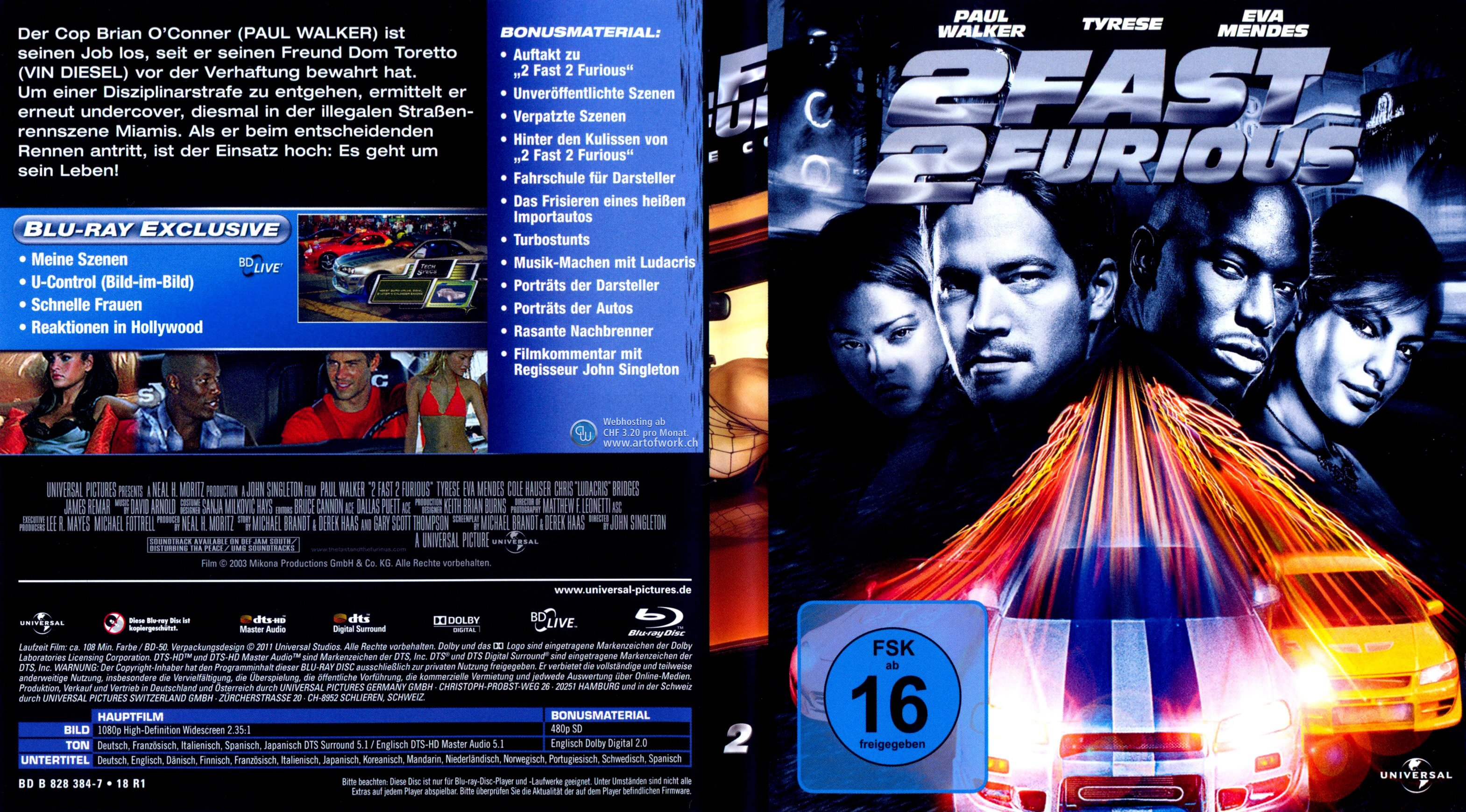 Fast And Furious 2 German Blu Ray Cover