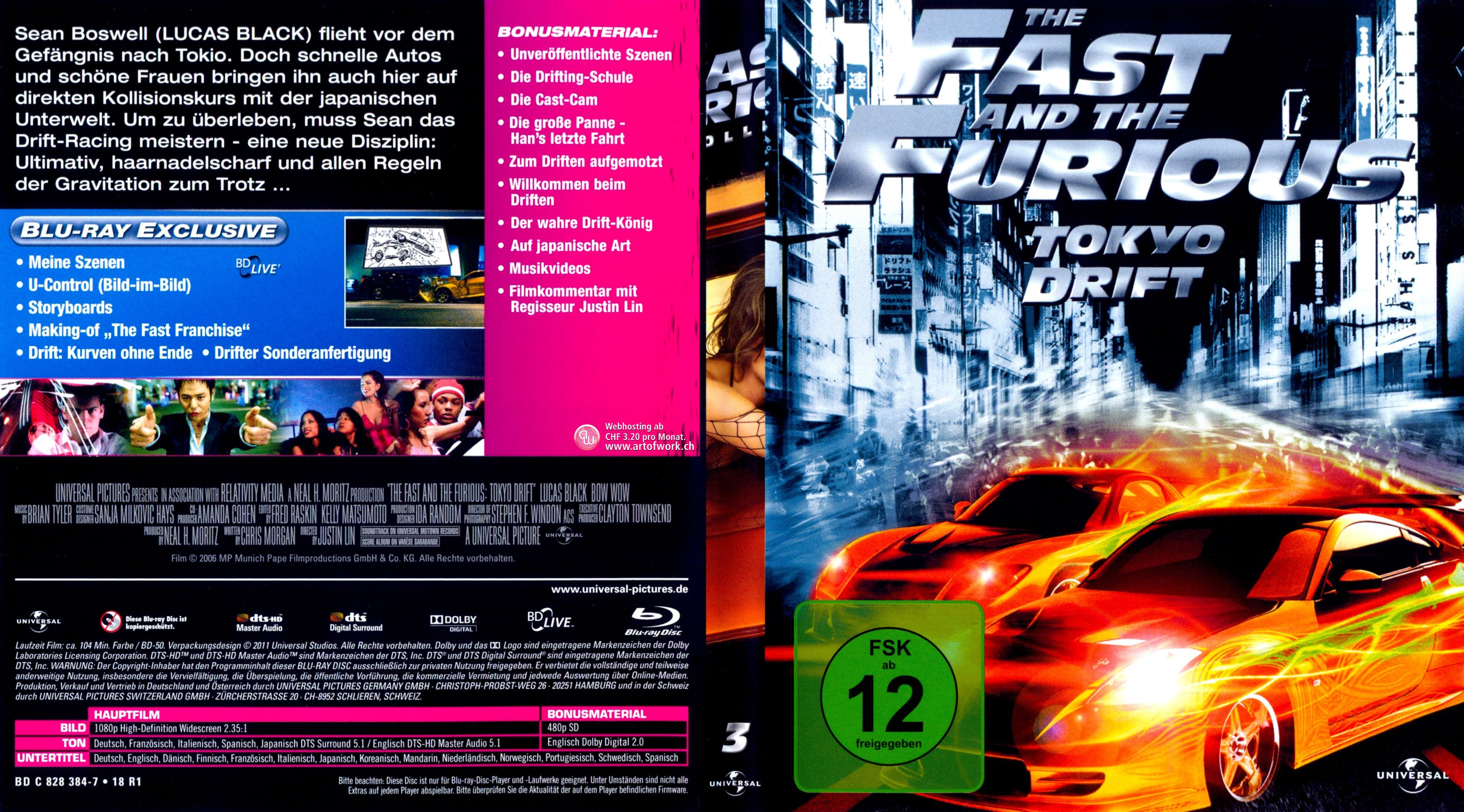 Fast And Furious 3 Full Movie >> Fast And Furious 3 Tokyo Drift German Blu Ray Cover German Dvd Covers