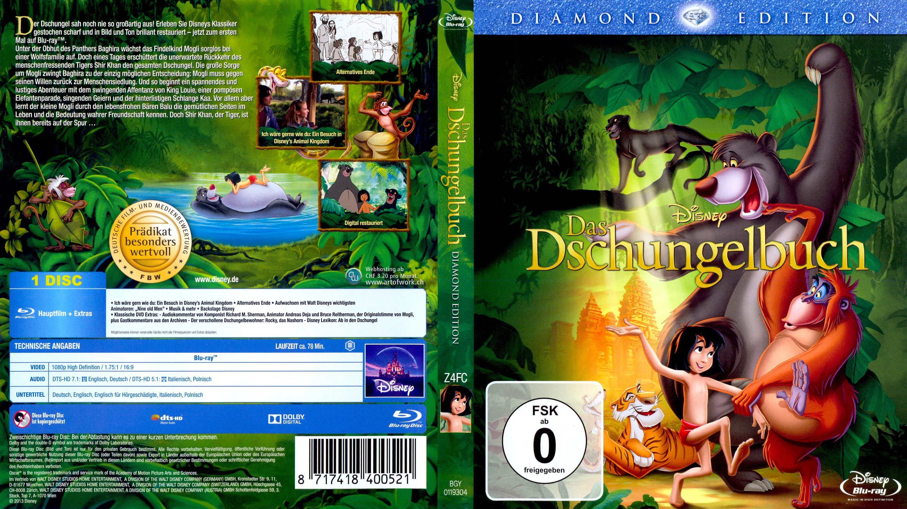 das dschungelbuch 1 german blu ray cover german dvd covers. Black Bedroom Furniture Sets. Home Design Ideas