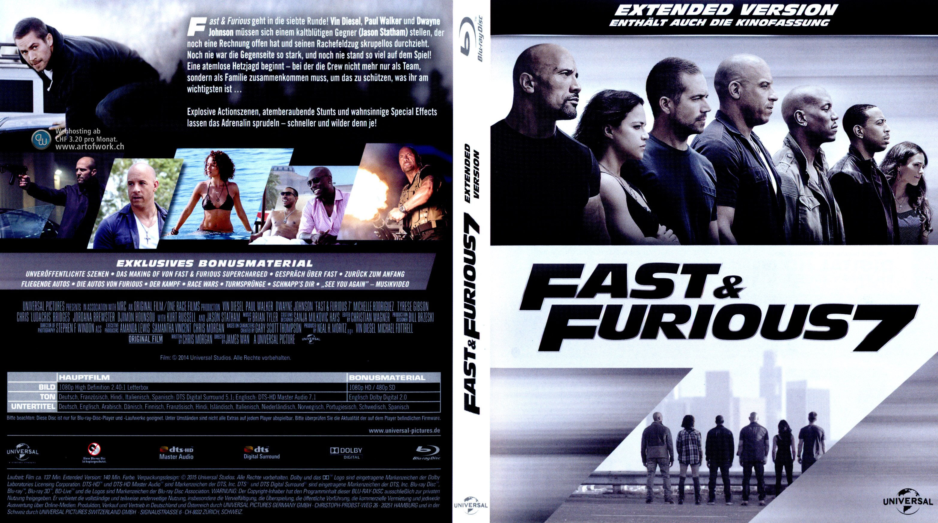 Fast and Furious 7 Extended Version german blu ray cover