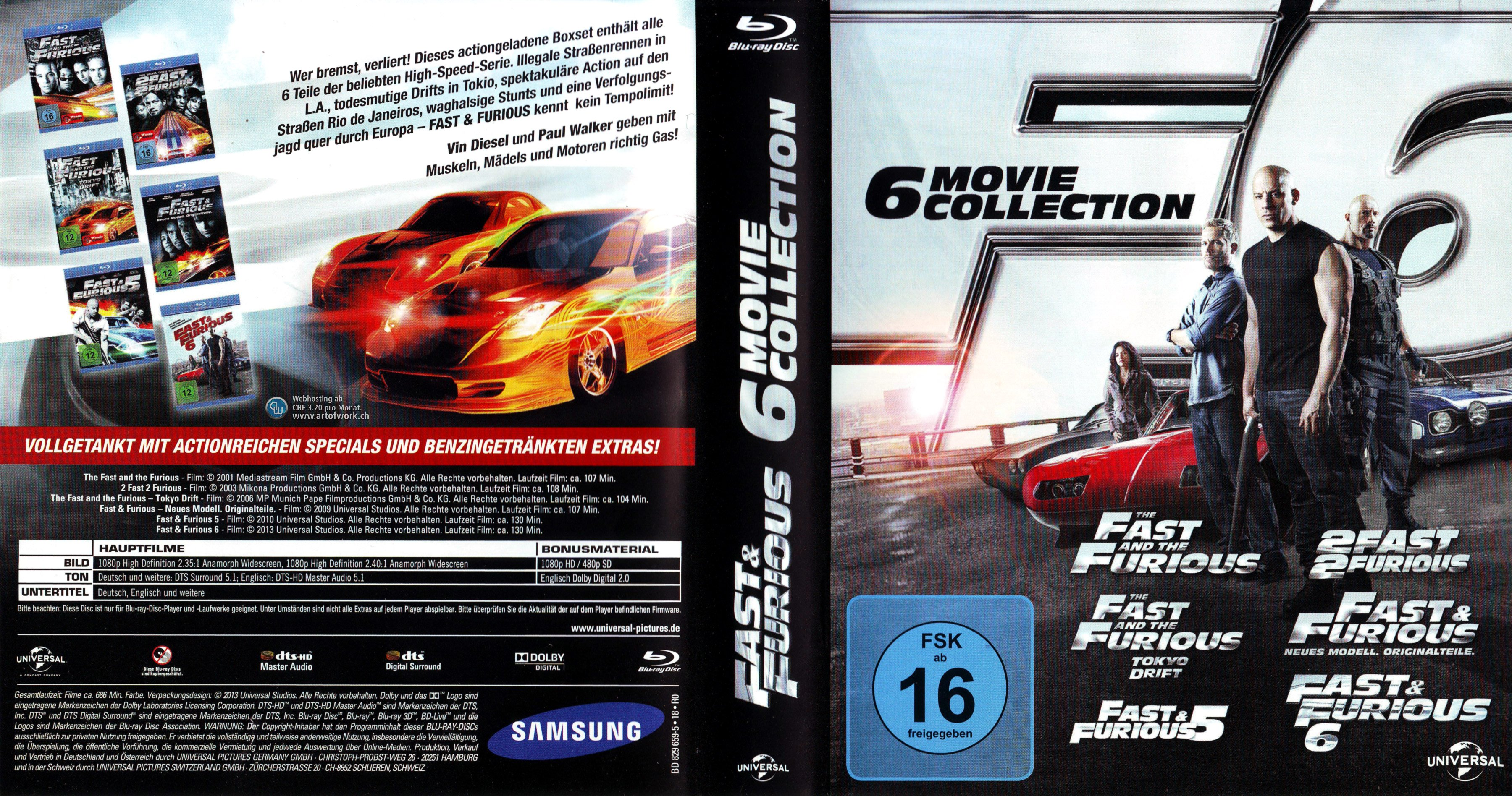 Fast and Furious Collection german blu ray cover
