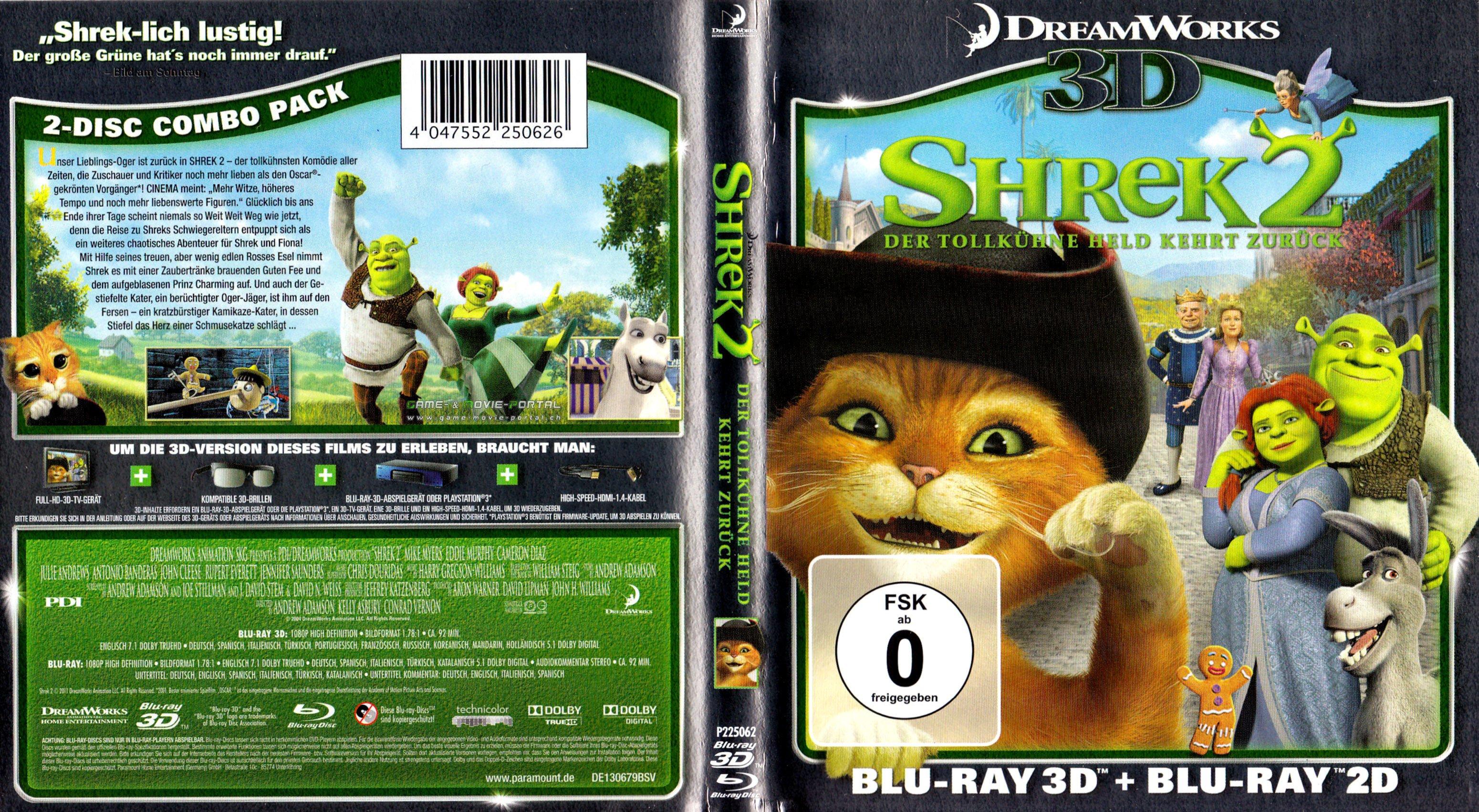 Shrek 2 3d Blu Rayblu Ray Cover German German Dvd Covers