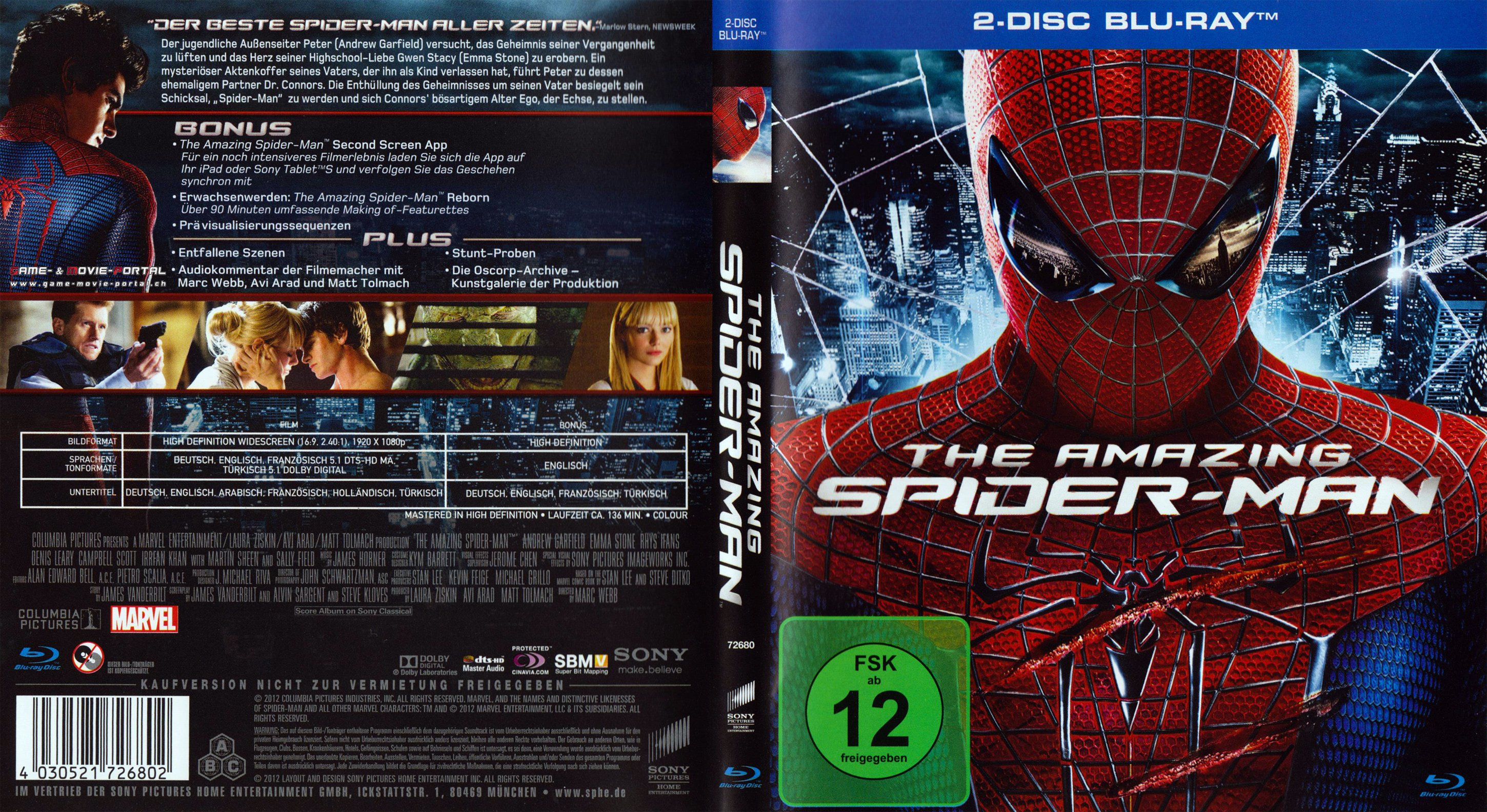 The amazing spider man blu ray cover