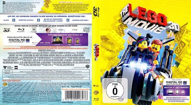 The Lego Movie 3D Bluray blu ray cover german