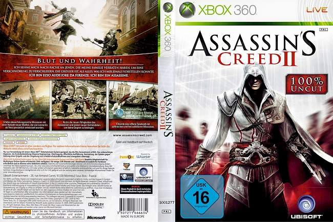 Assassins Creed 2 xbox 360 cover german