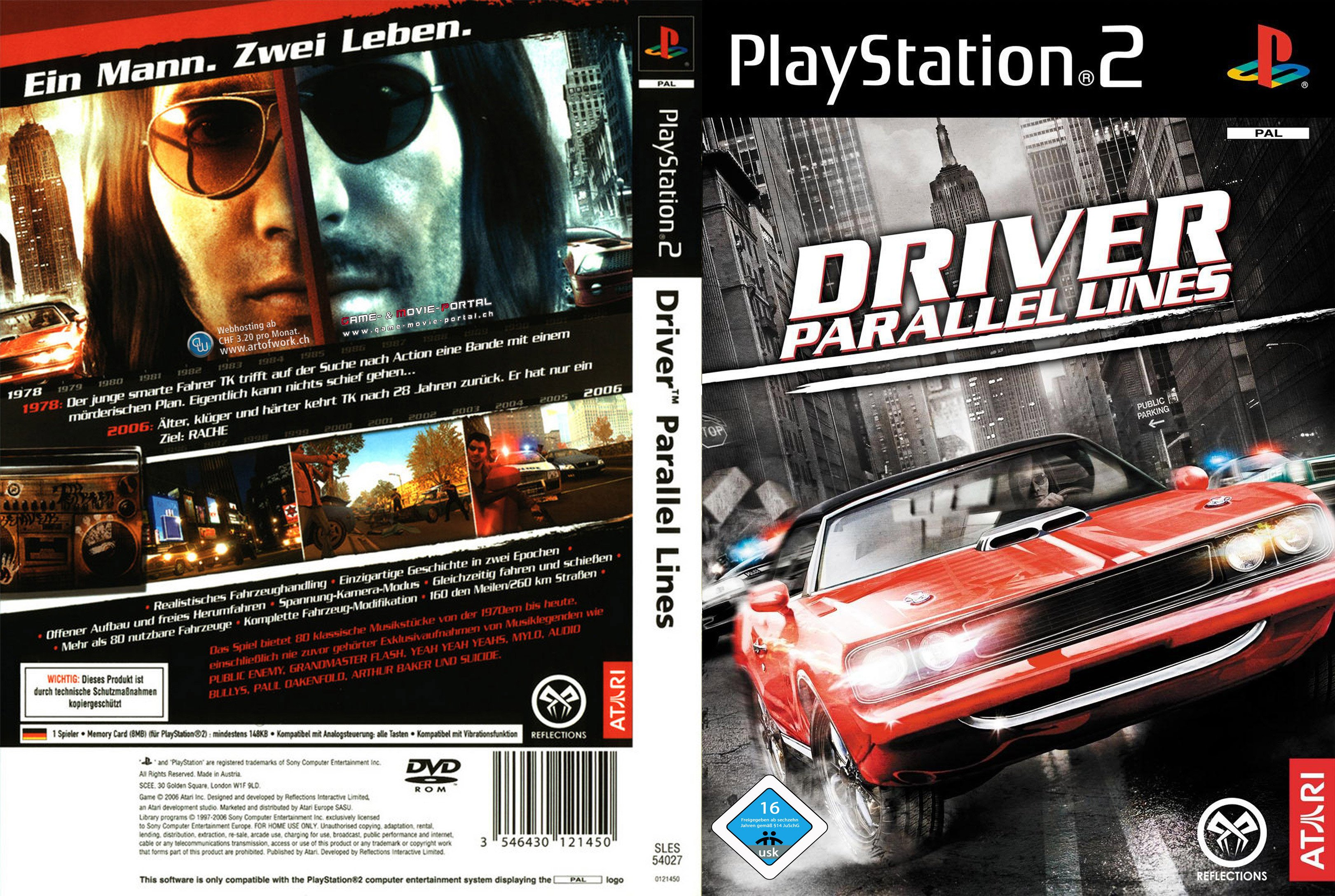 driver parallel lines playstation 2 cover german german. Black Bedroom Furniture Sets. Home Design Ideas