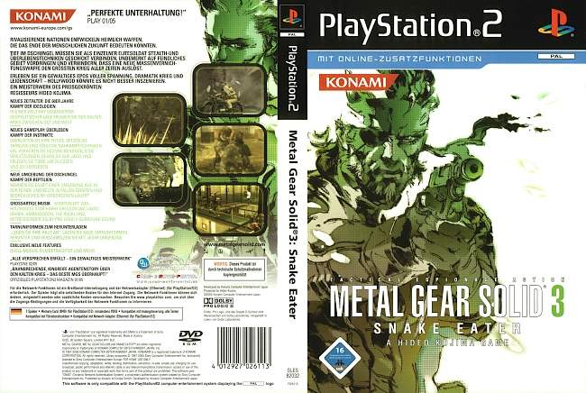 Metal Gear Solid 3 Snake Eater Playstation 2 cover german