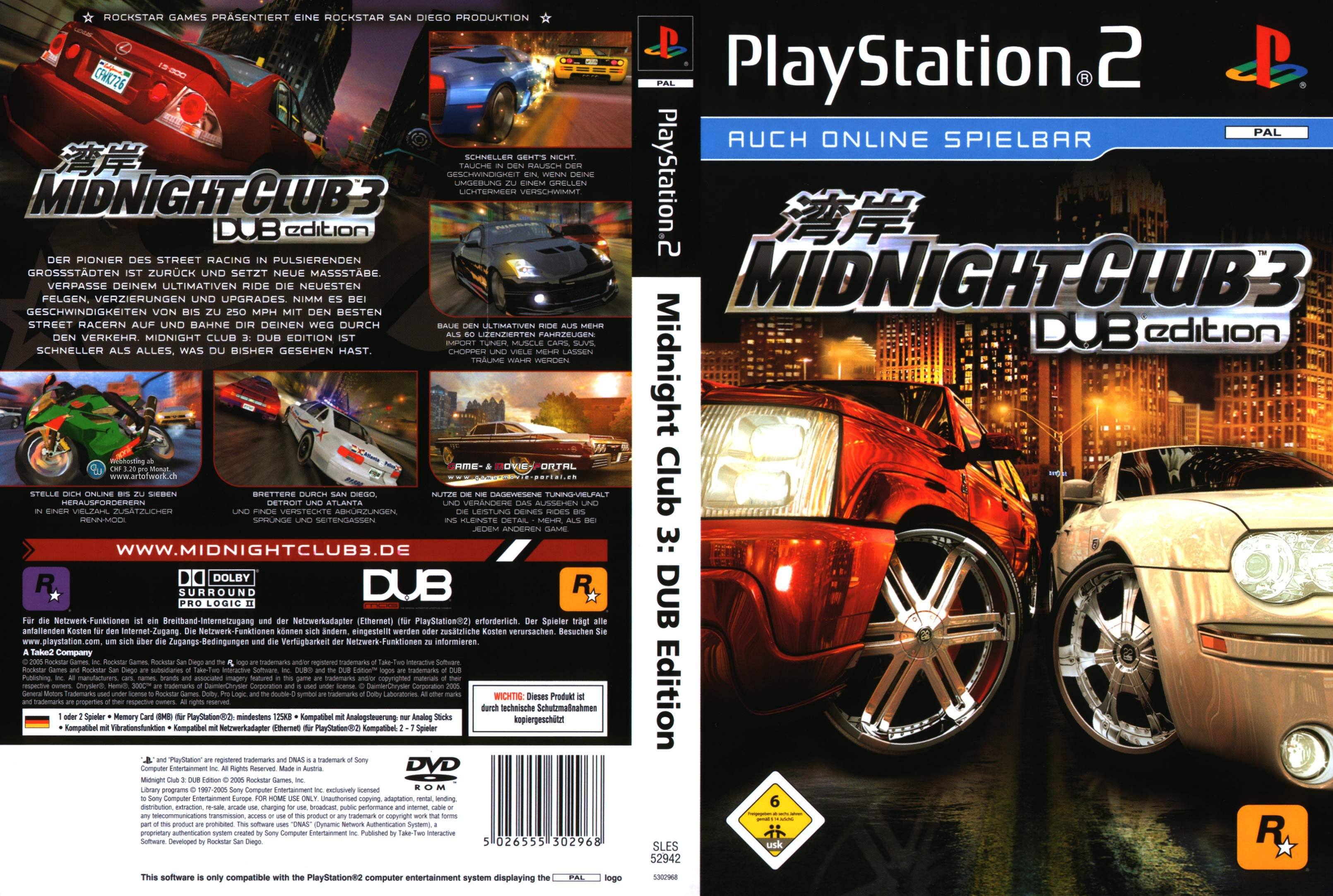 midnight club 3 playstation 2 cover german german dvd covers. Black Bedroom Furniture Sets. Home Design Ideas