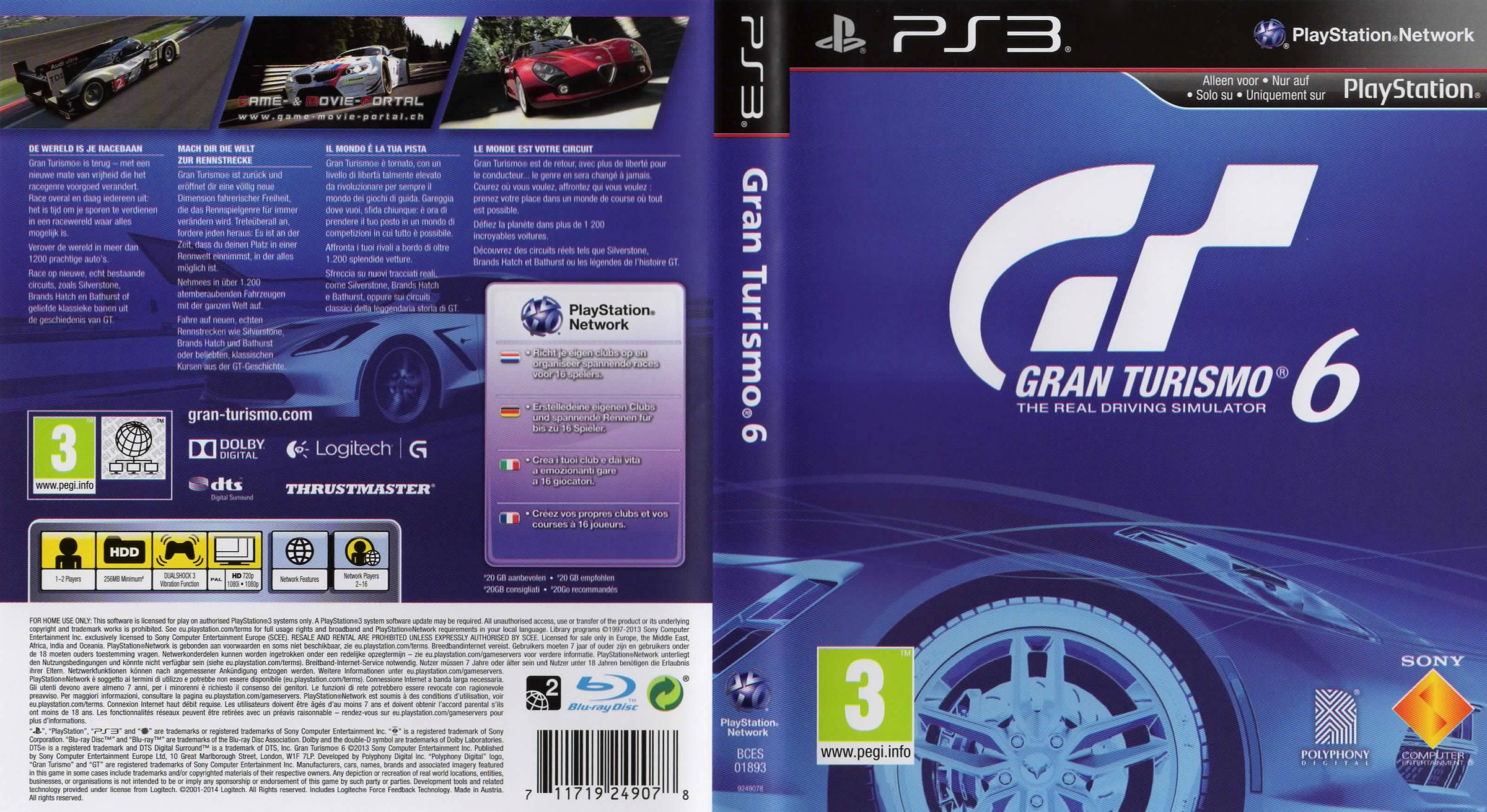 gran turismo 6 german ps3 cover german dvd covers. Black Bedroom Furniture Sets. Home Design Ideas