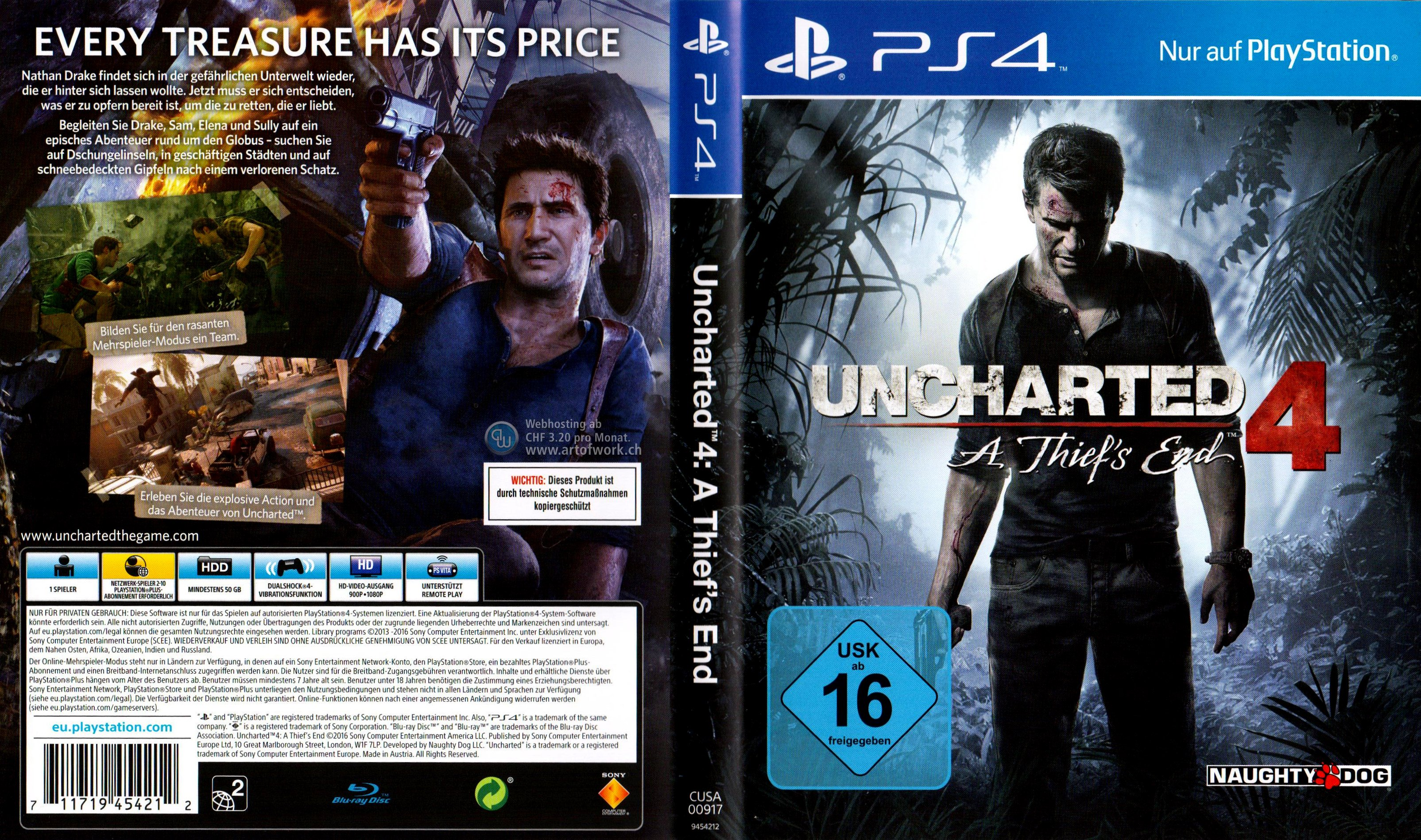 Uncharted 4 A Thiefs End Cover Playstation 4 PS4 german ...