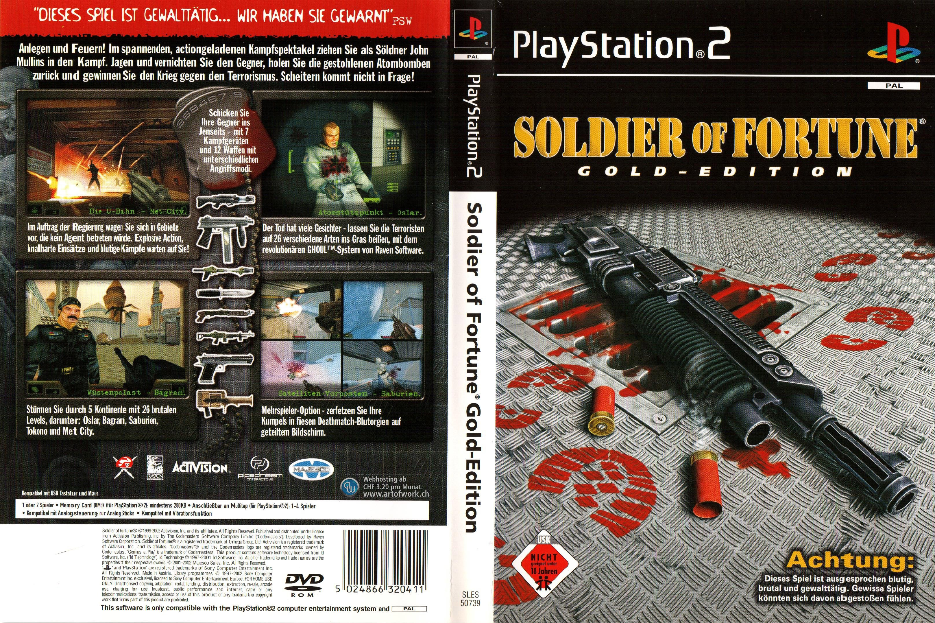 soldier of fortune gold edition playstation 2 cover german. Black Bedroom Furniture Sets. Home Design Ideas