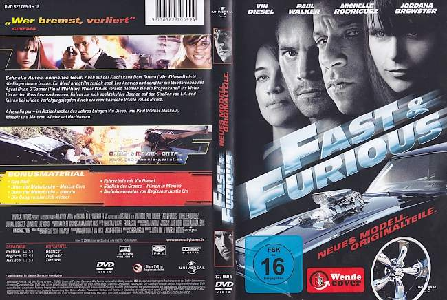 Fast and Furious 4 Neues Modell Originalteile german dvd cover