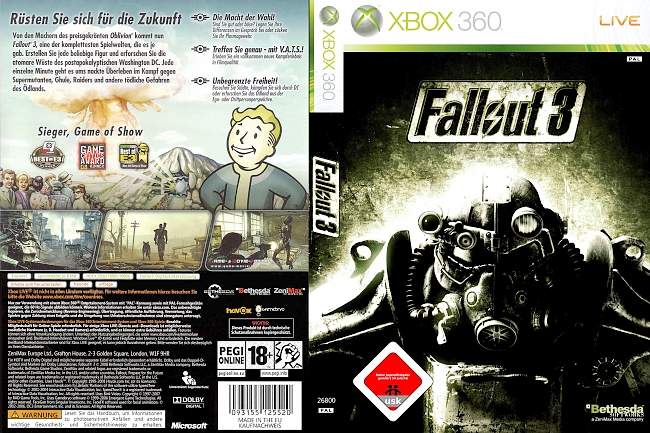 Fallout 3 xbox 360 cover german