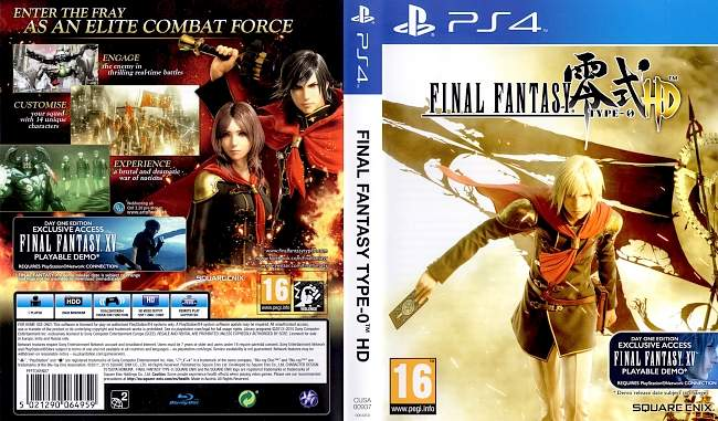 Final Fantasy Type 0 german ps4 cover