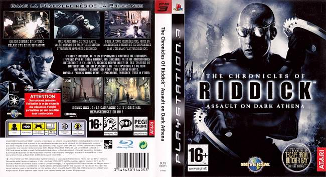The Chronicles of Riddick Assault on Dark Athena Vin Diesel german ps3 cover