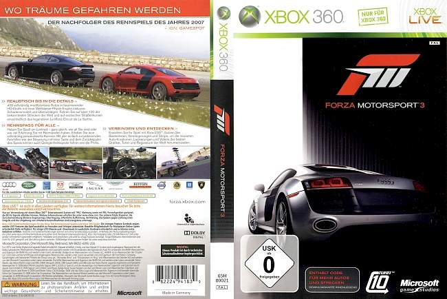 Forza Motorsport 3 xbox 360 cover german