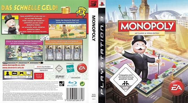 Monopoly Playstation 3 World Edition Classic Edition german ps3 cover