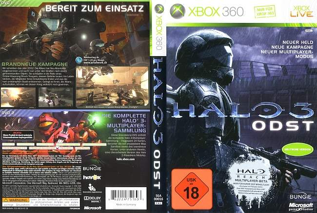 Halo 3 ODST xbox 360 cover german