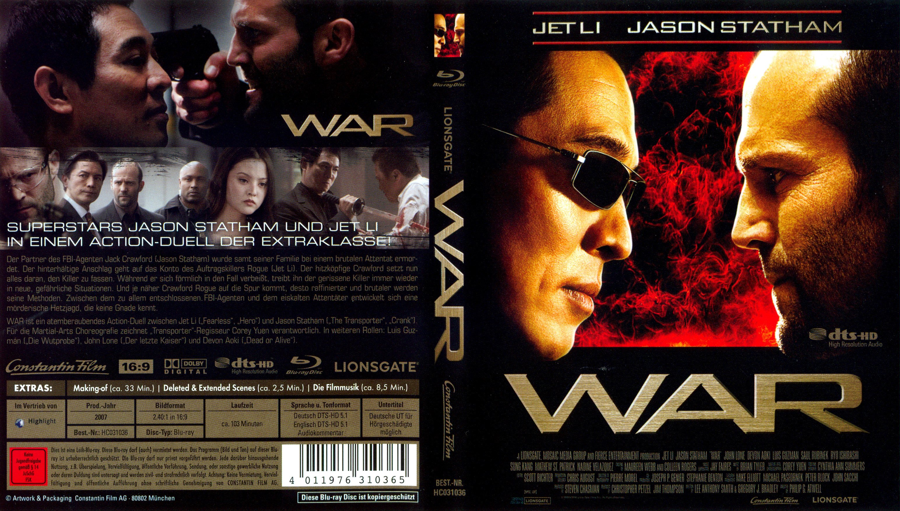 WAR Jason Statham Jet Li german blu ray cover | German DVD Covers