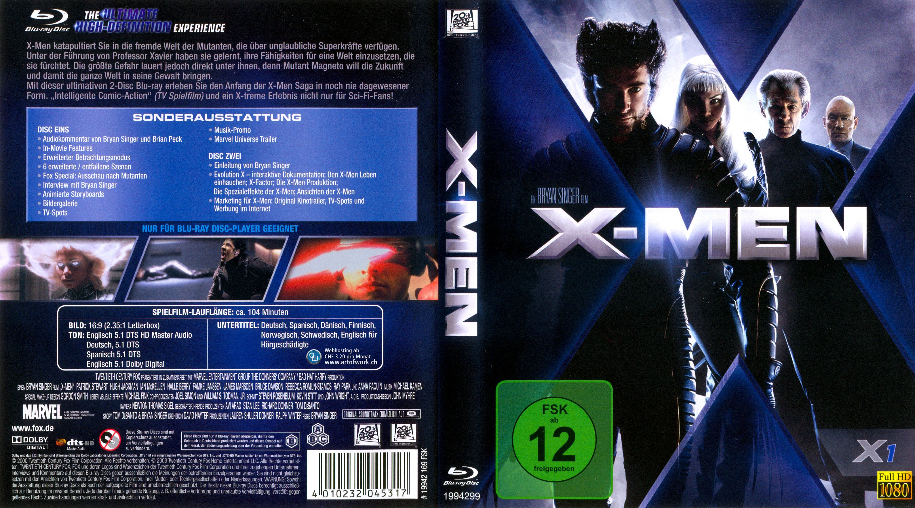 X Men Dvd Cover: X Men 1 Bryan Singer Halle Barry German Blu Ray Cover