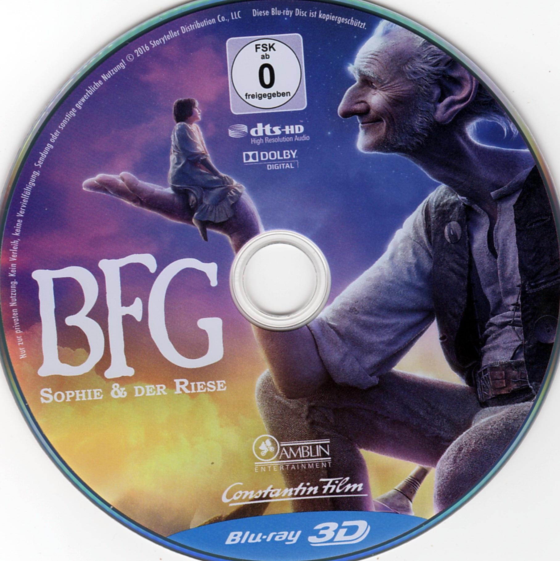 BFG – Sophie & der Riese 3D | German DVD Covers