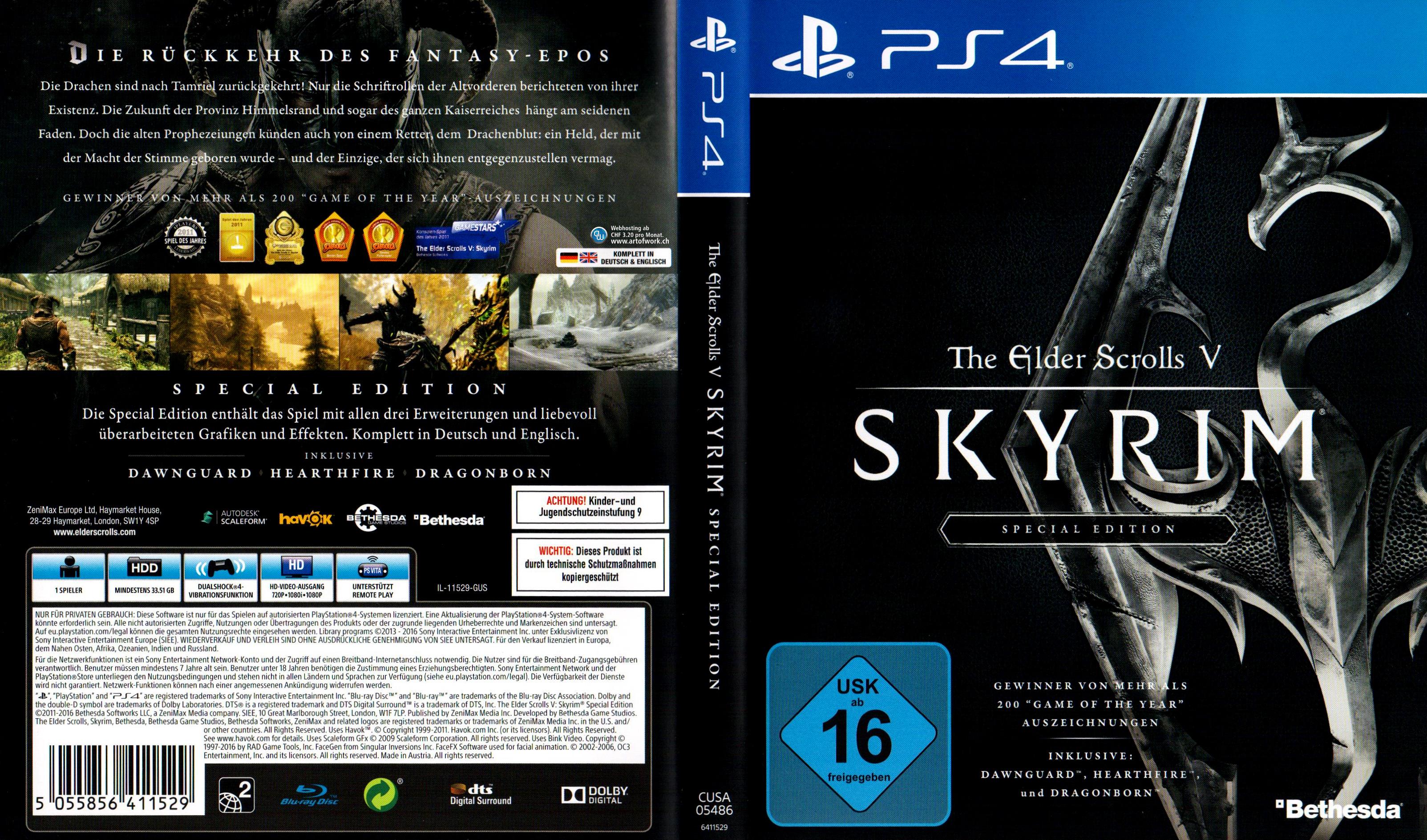 the elder scrolls v skyrim playstation 4 ps4 german ps4 cover german dvd covers. Black Bedroom Furniture Sets. Home Design Ideas