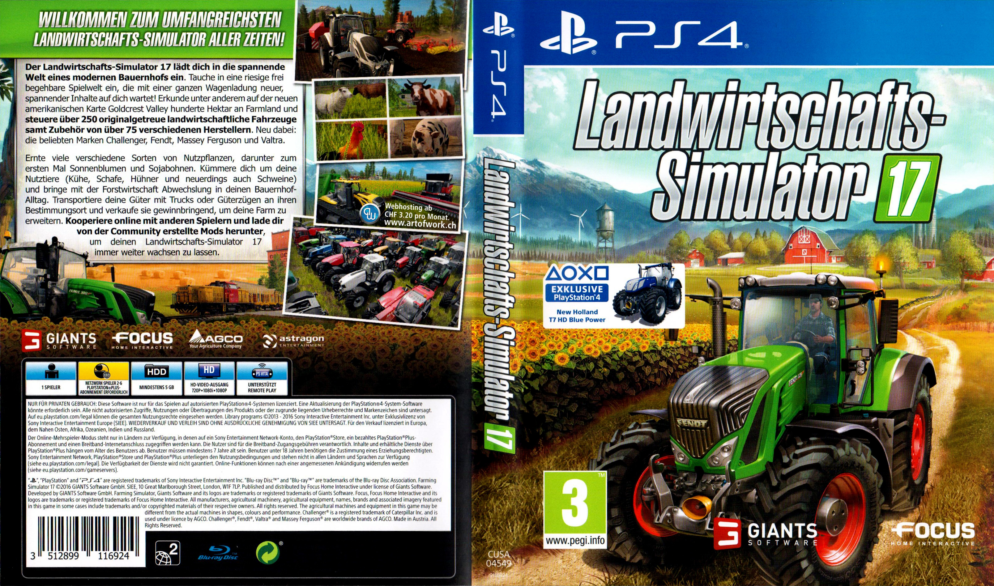 landwirtschafts simulator 17 german ps4 cover german dvd. Black Bedroom Furniture Sets. Home Design Ideas