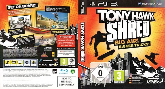 Tony Hawk Shred Big Air Bigger Tricks ps3 cover german