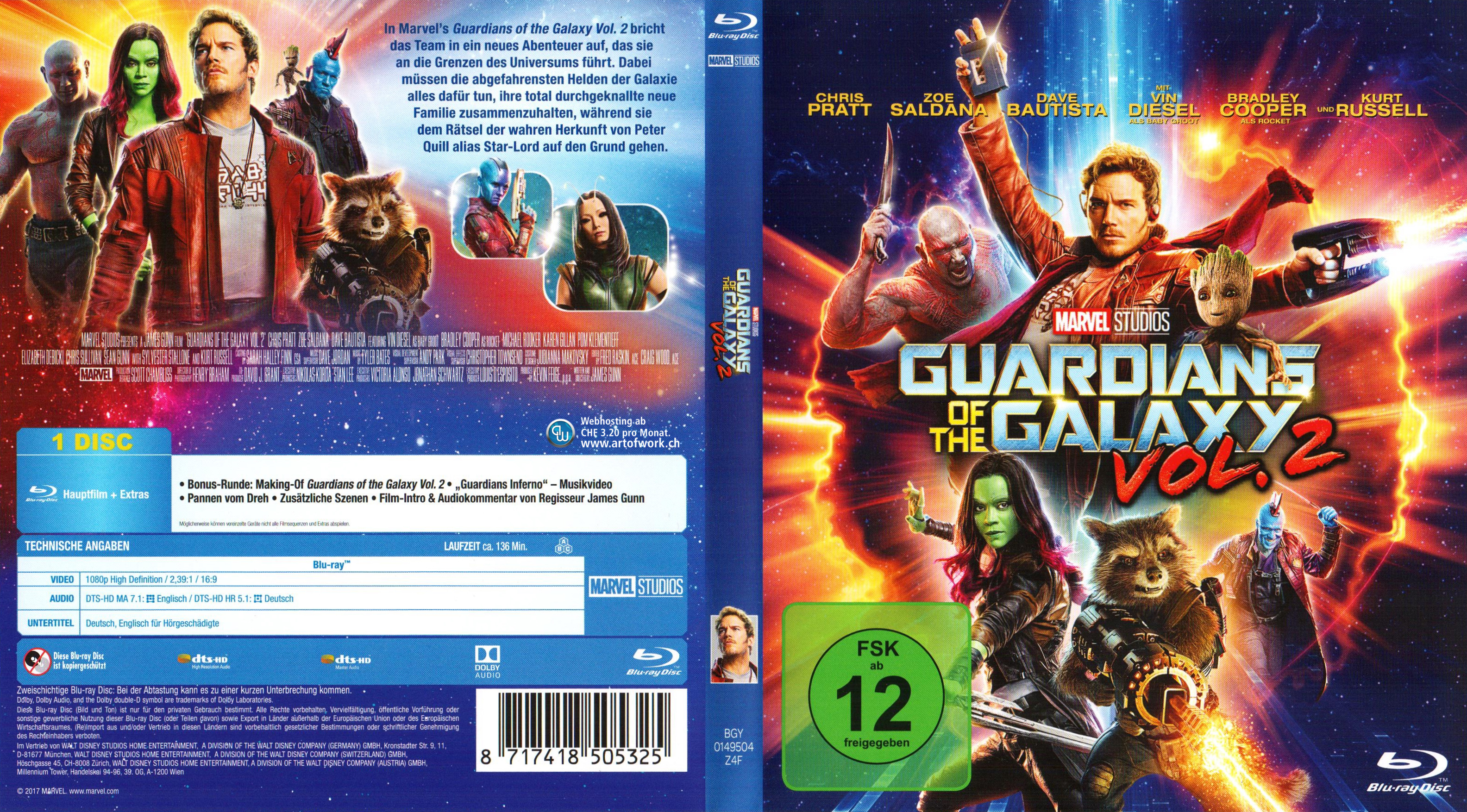 Guardians of the Galaxy Vol 2 Cover Blu ray Deutsch German ...