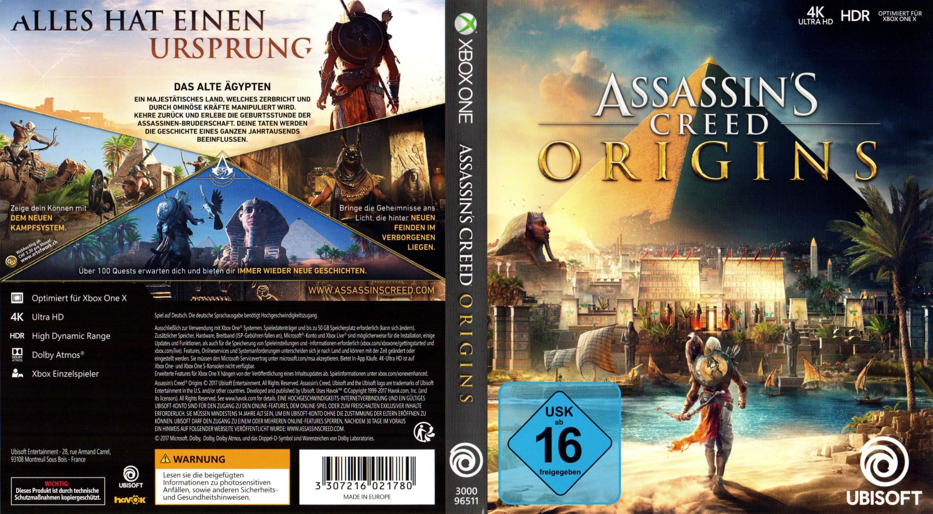 Assassins Creed Origins Xbox One Cover Deutsch Ubisoft German Xbox