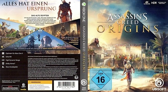 Assassins Creed Origins Xbox One Cover Deutsch Ubisoft german xbox one cover