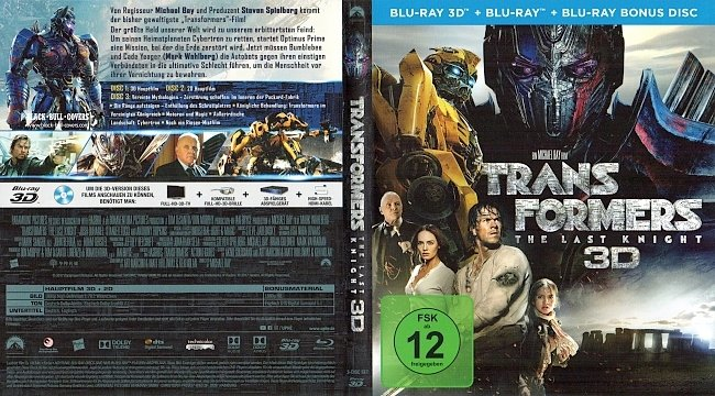 Transformers 5 The Last Knight 3D Blu ray Deutsch German blu ray cover german