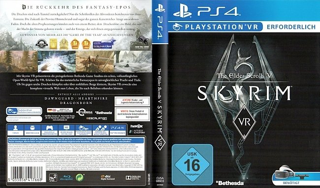 The Elder Scrolls 5 Skyrim VR Cover Deutsch German PS4 german ps4 cover