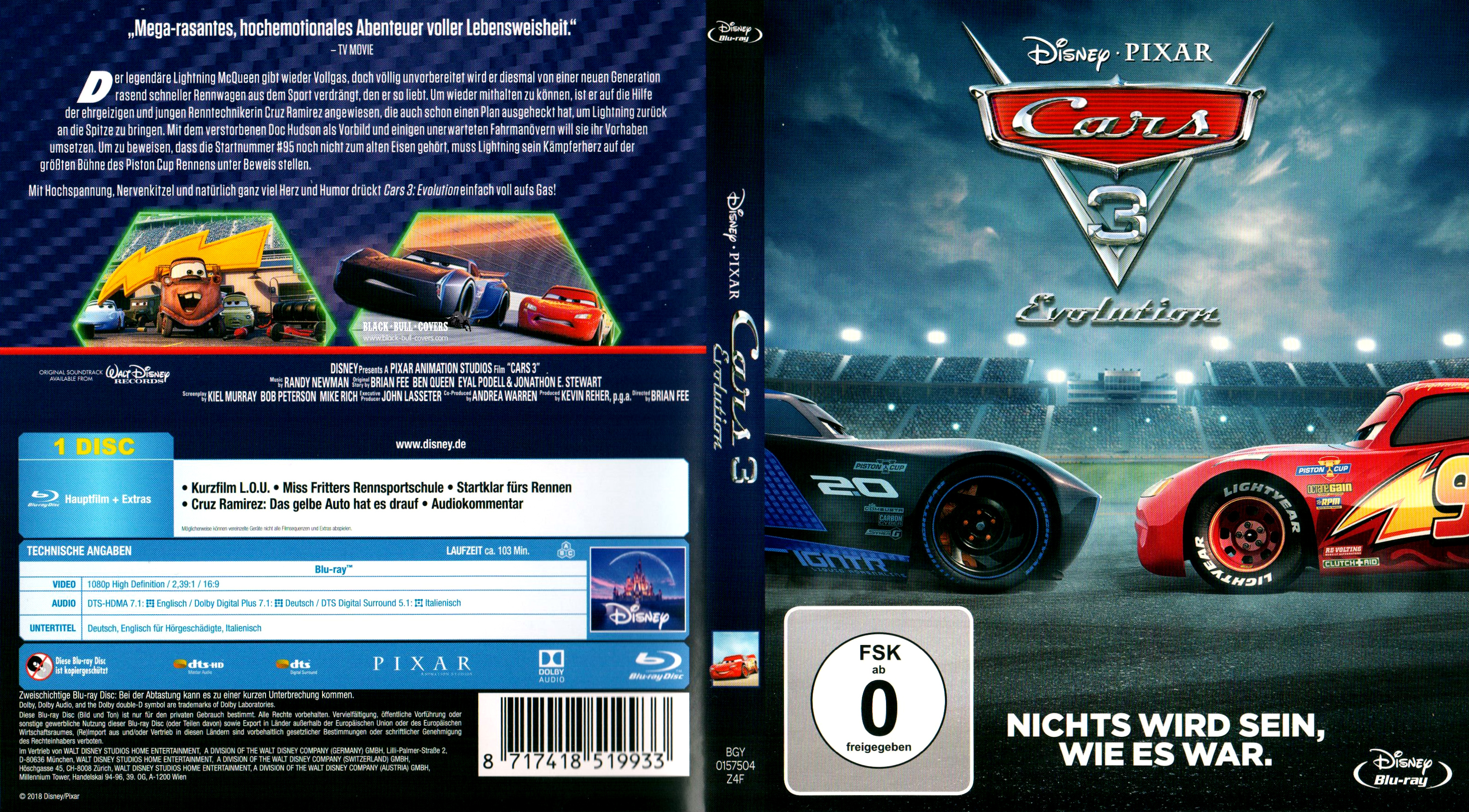 cars 3 evolution deutsch german cover blu ray nichts wird sein wie es war german blu ray cover. Black Bedroom Furniture Sets. Home Design Ideas