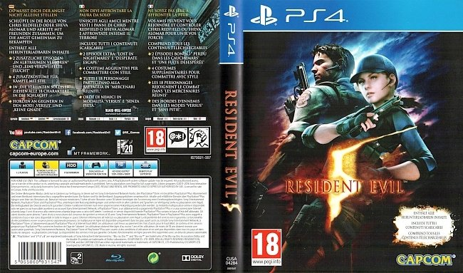 Resident Evil 5 PS4 Cover Deutsch german ps4 cover