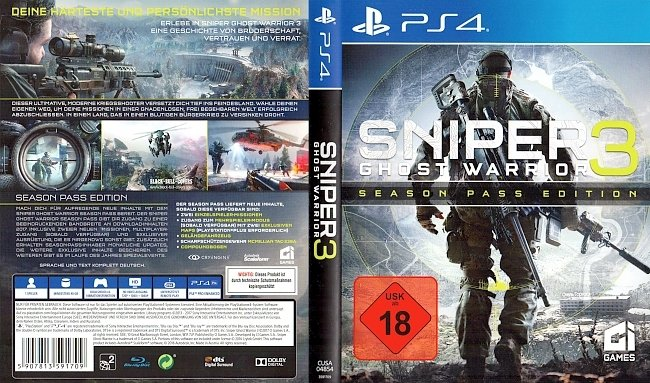 Sniper Ghost Warrior 3 Season Pass Edition Cover Deutsch German PS4 german ps4 cover
