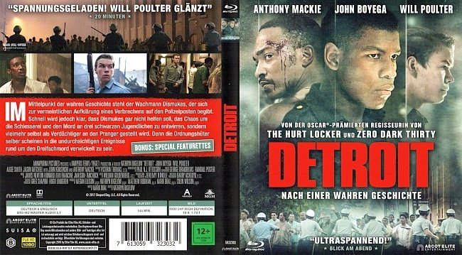 Detroit John Boyega Will Poulter Anthony Mackie Cover BD german blu ray cover