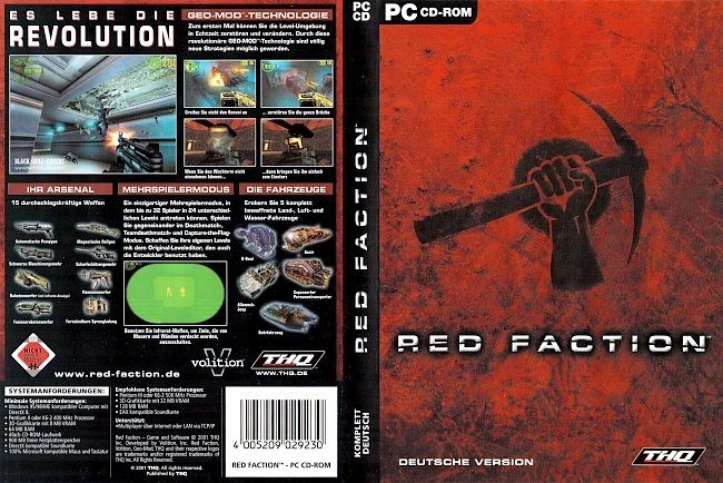 Red Faction Cover THQ Deutsch German Cover pc cover german