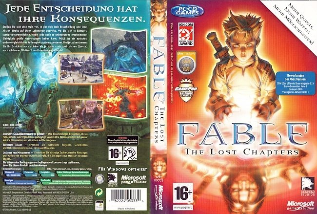 Fable The Lost Chapters PC CD Cover Deutsch German pc cover german