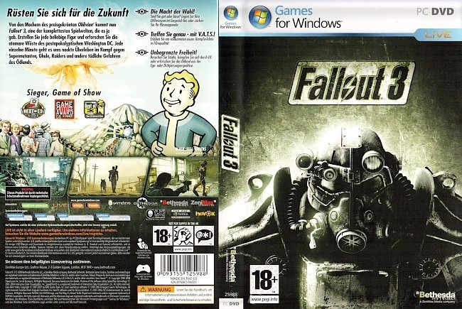 Fallout 3 Cover PC Deutsch German pc cover german