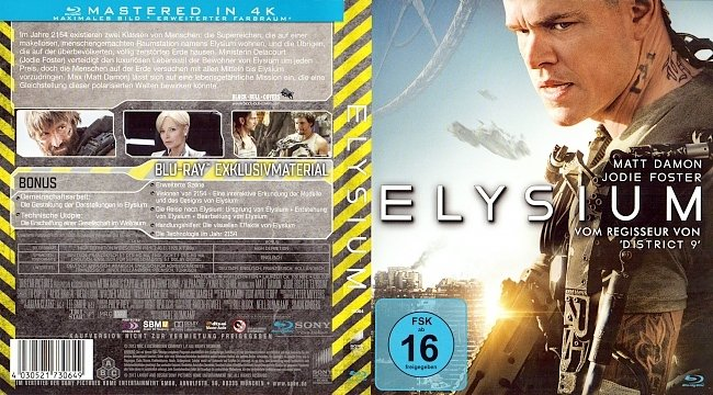 Elysium mit FSK 16 Cover German Deutsch Bluray german blu ray cover