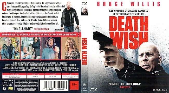 Death Wish Bruce Willis Cover German Deutsch Bluray german blu ray cover