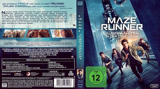 Maze Runner 3 The Death Cure Die Auserwaehlten in der Todeszone Cover Bluray Deutsch German german blu ray cover
