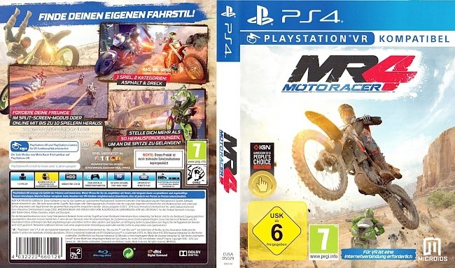 MR4 Moto Racer 4 Cover Deutsch German Playstation VR german ps4 cover