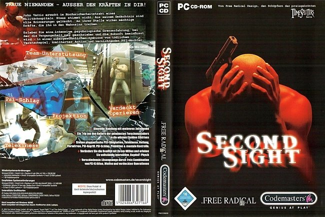 Second Sight Cover Deutsch German pc cover german