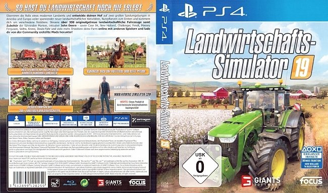 Landwirtschafts Simulator 19 PS4 Cover Deutsch German german ps4 cover