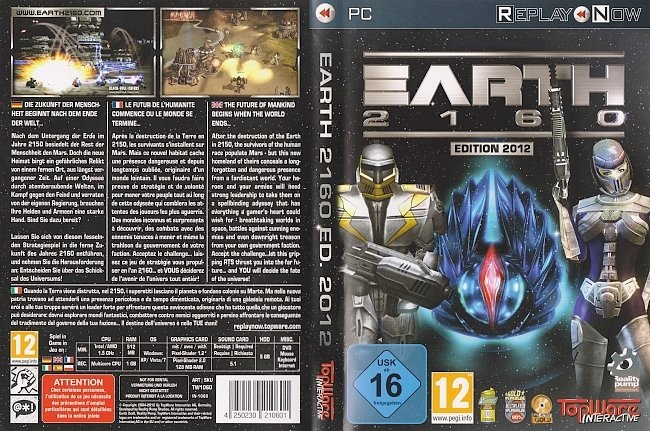 Earth 2160 Edition 2012 DVD Cover Deutsch German pc cover german